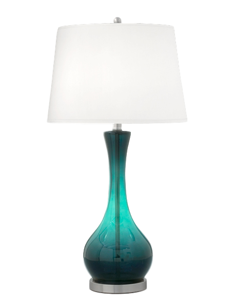 Medallion Teal Glass And Brushed Steel Glass Table Lamp