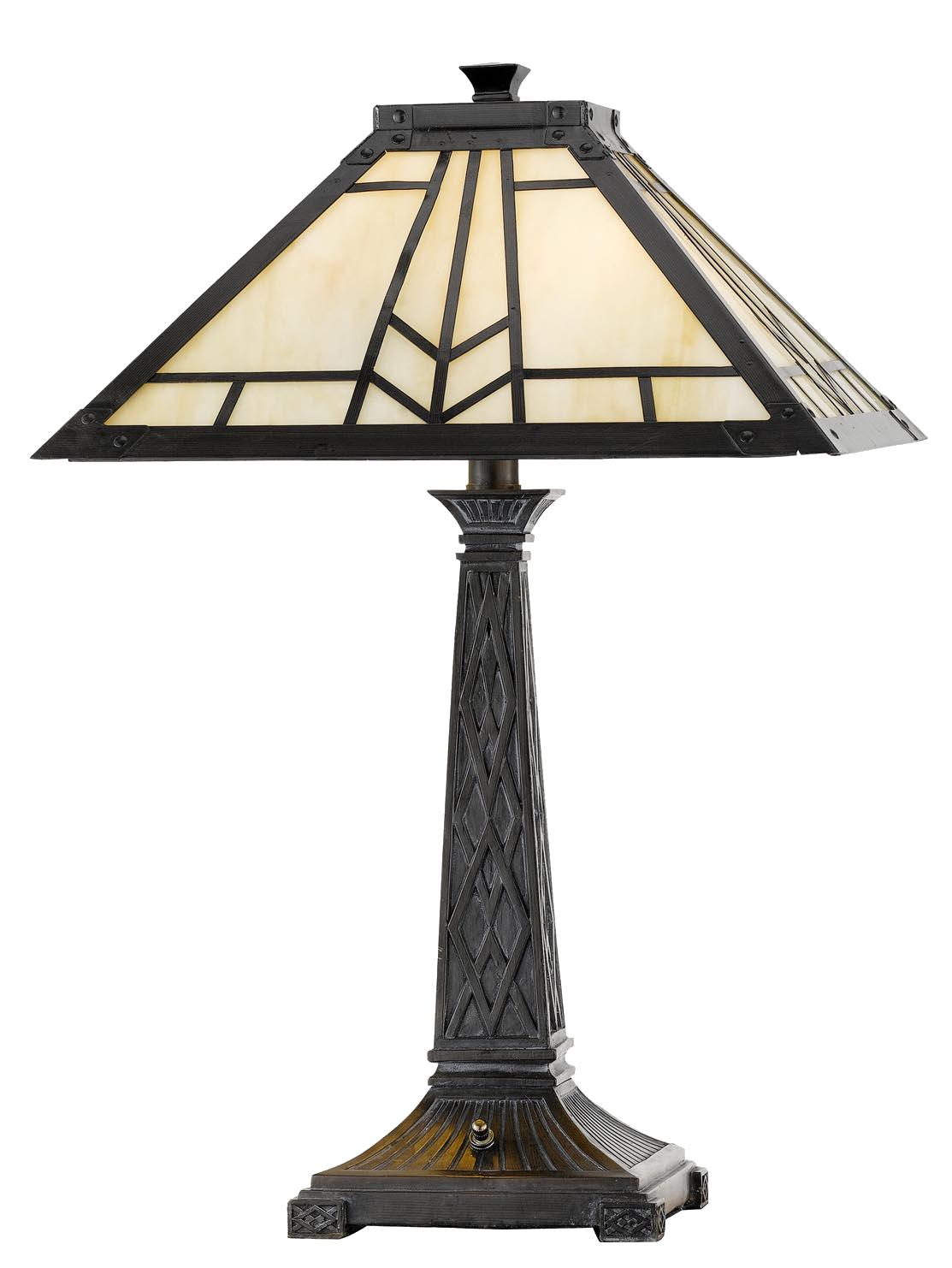 Cal Lighting 60w X 2 Mission Tiffany Table Lamp Urbane